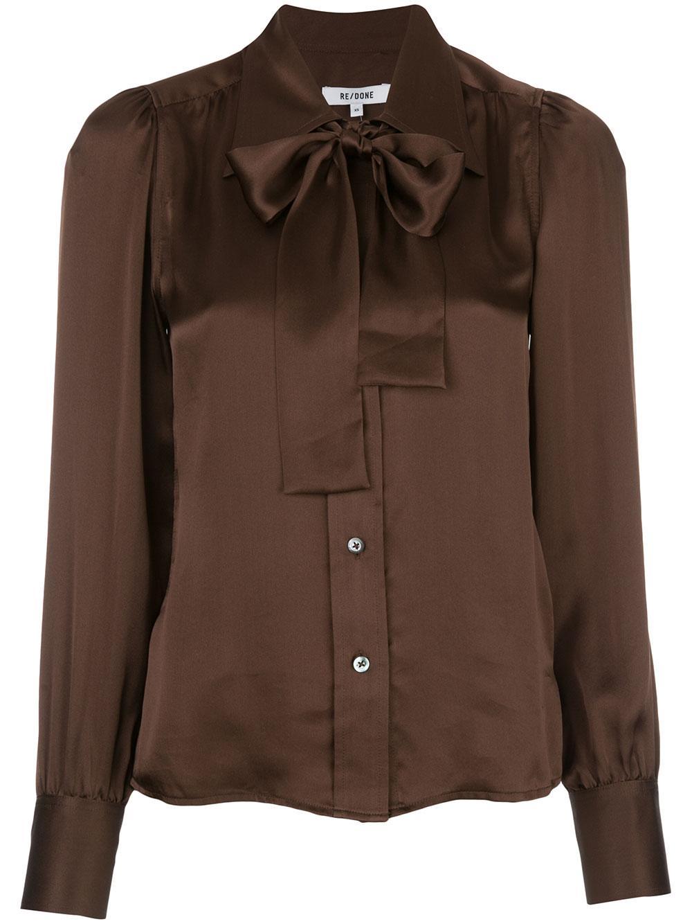 70's Buttondown Tie Neck Long Sleeve Blouse Item # 326-1W7BL