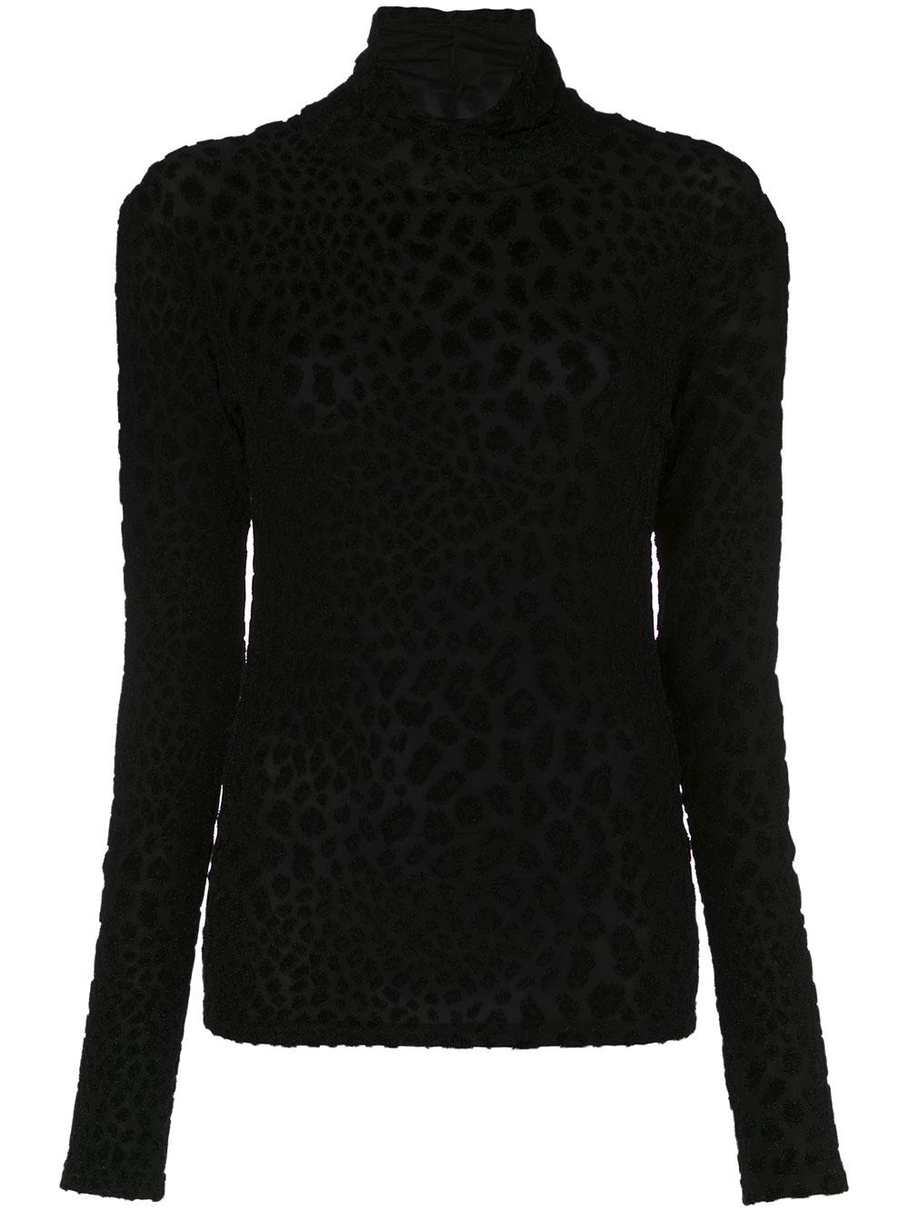 Delphine Cut Velvet Turtleneck Animal Print