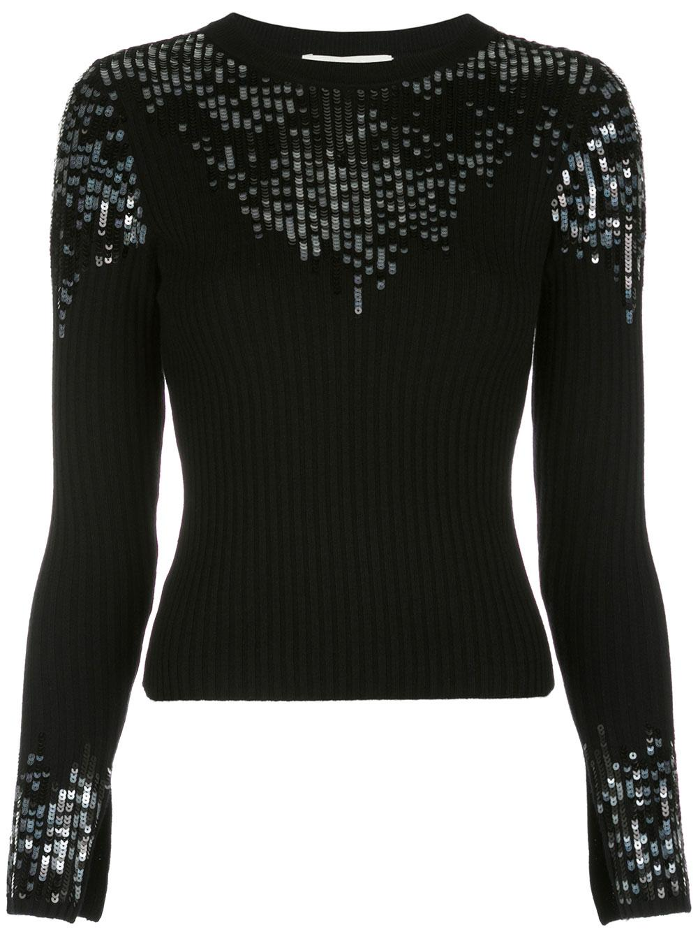 Ribbed Sequin Lace Crew Neck Top