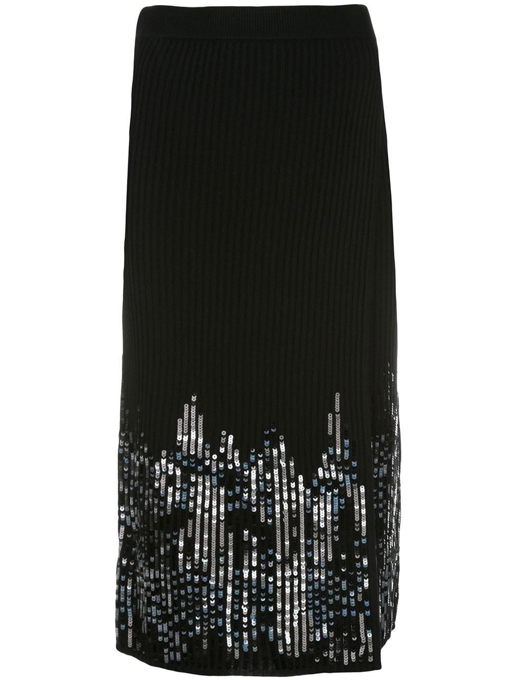 Ribbed Sequin Front Slit Skirt Item # 120-3002-K