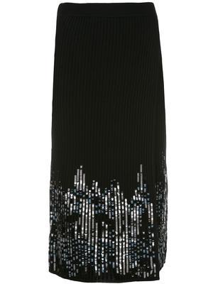 Ribbed Sequin Front Slit Skirt