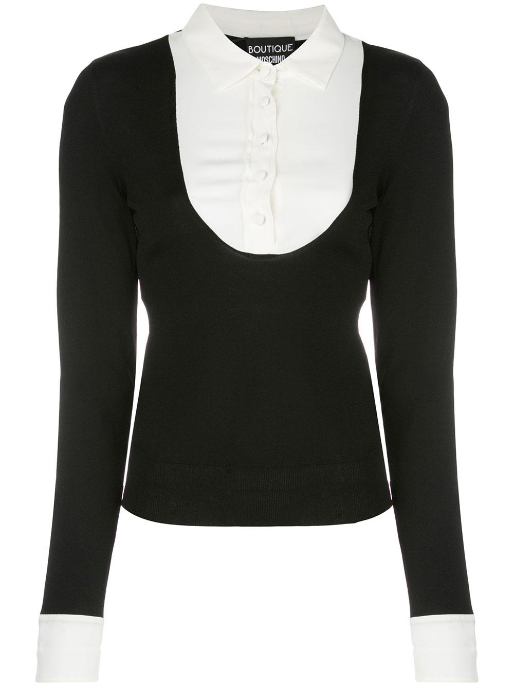 Long Sleeve Scoopneck Knit Top With Button Up Inset Item # 0906-5801