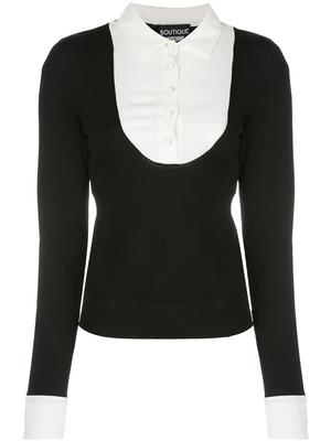 Long Sleeve Scoopneck Knit Top With Button Up Inset