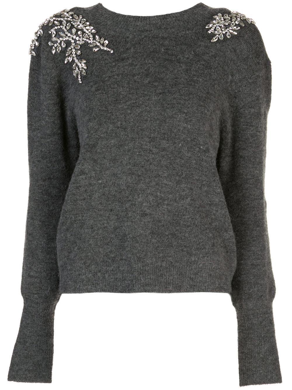 Valerie Long Sleeve Sweater With Crystal Shoulde