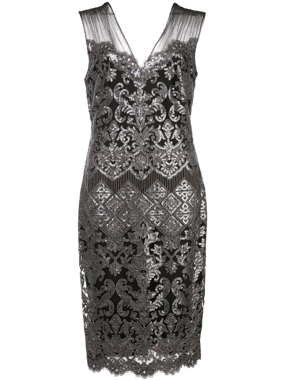 Sleeveless Lace Embroidered Cocktail Dress