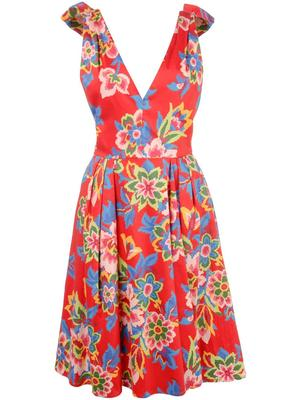 Sleeve Less V Neck Pixel Floral Print Dress W