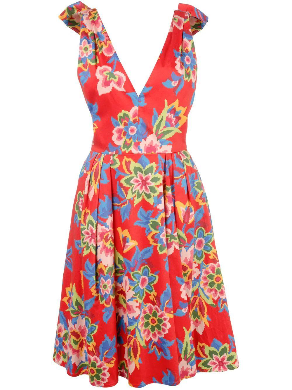 Sleeve Less V Neck Pixel Floral Print Dress W
