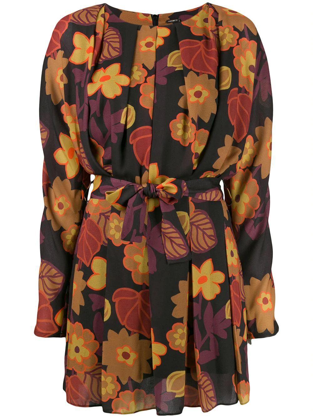Mika Flower Print Tie Belt Short Dress Item # DBO1003