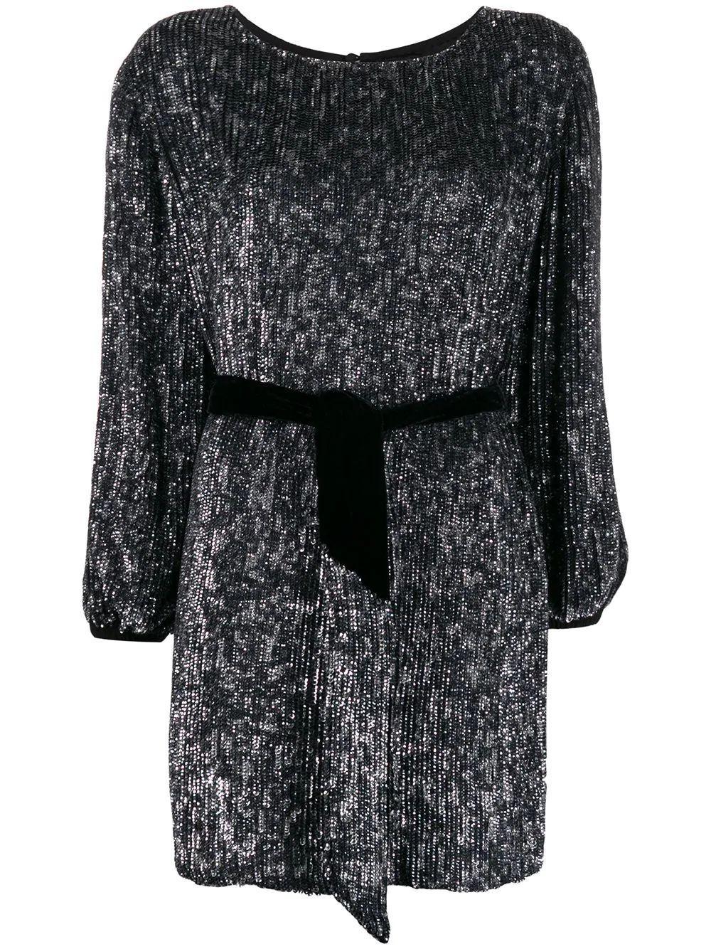 Grace Long Sleeve Bateau Neck Mini Dress With Belt Item # FW19-2308