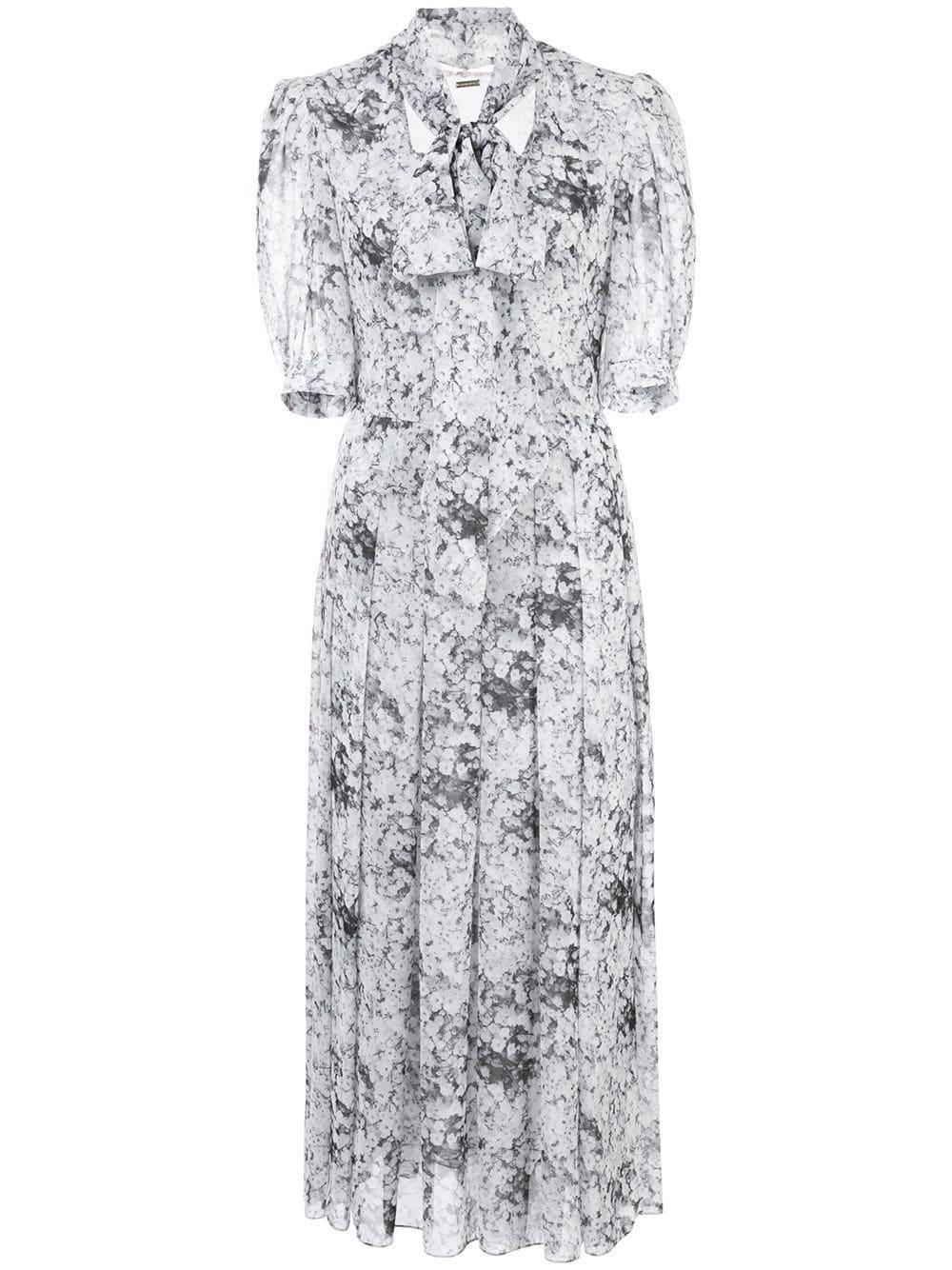 Elbow Sleeve Baby's Breath Print Dress