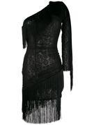 One Sleeve Short Dress With Fringe