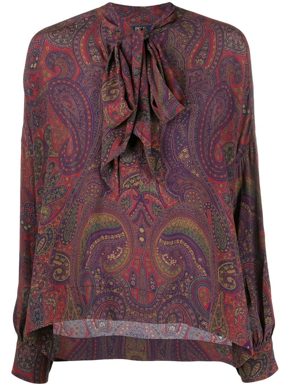 L/S Paisley Print Blouse W/Neck Tie Item # 211765242002
