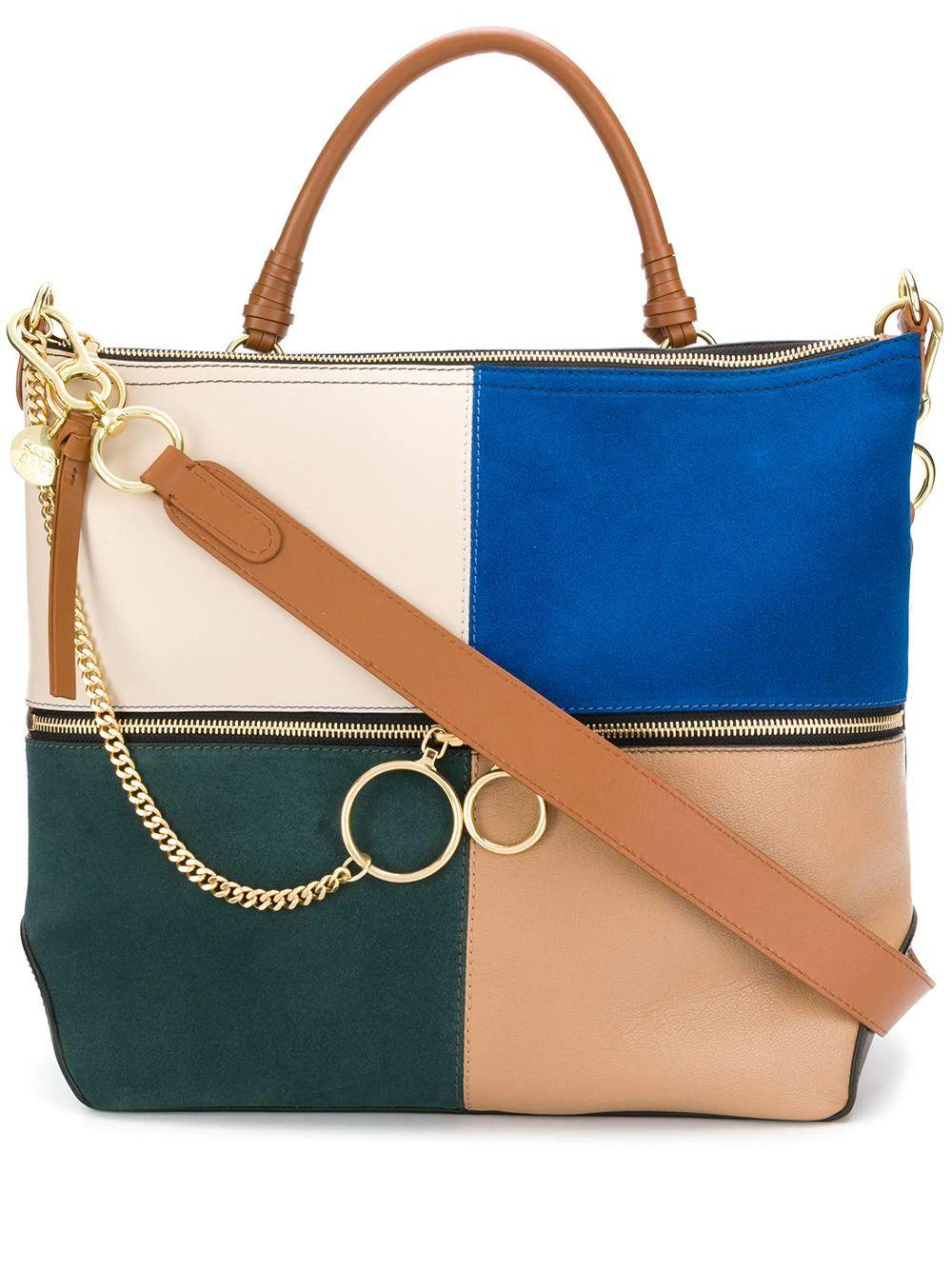 Patchwork Leather.Suede Tote Item # CHS19WSA35633