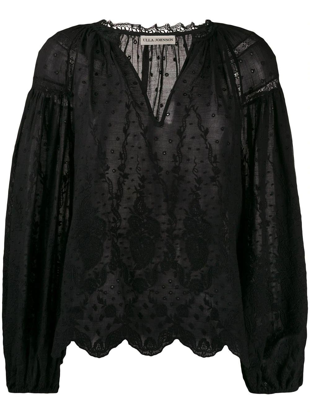 Harper Victorian Embroidered Long Sleeved Top Item # HO190210