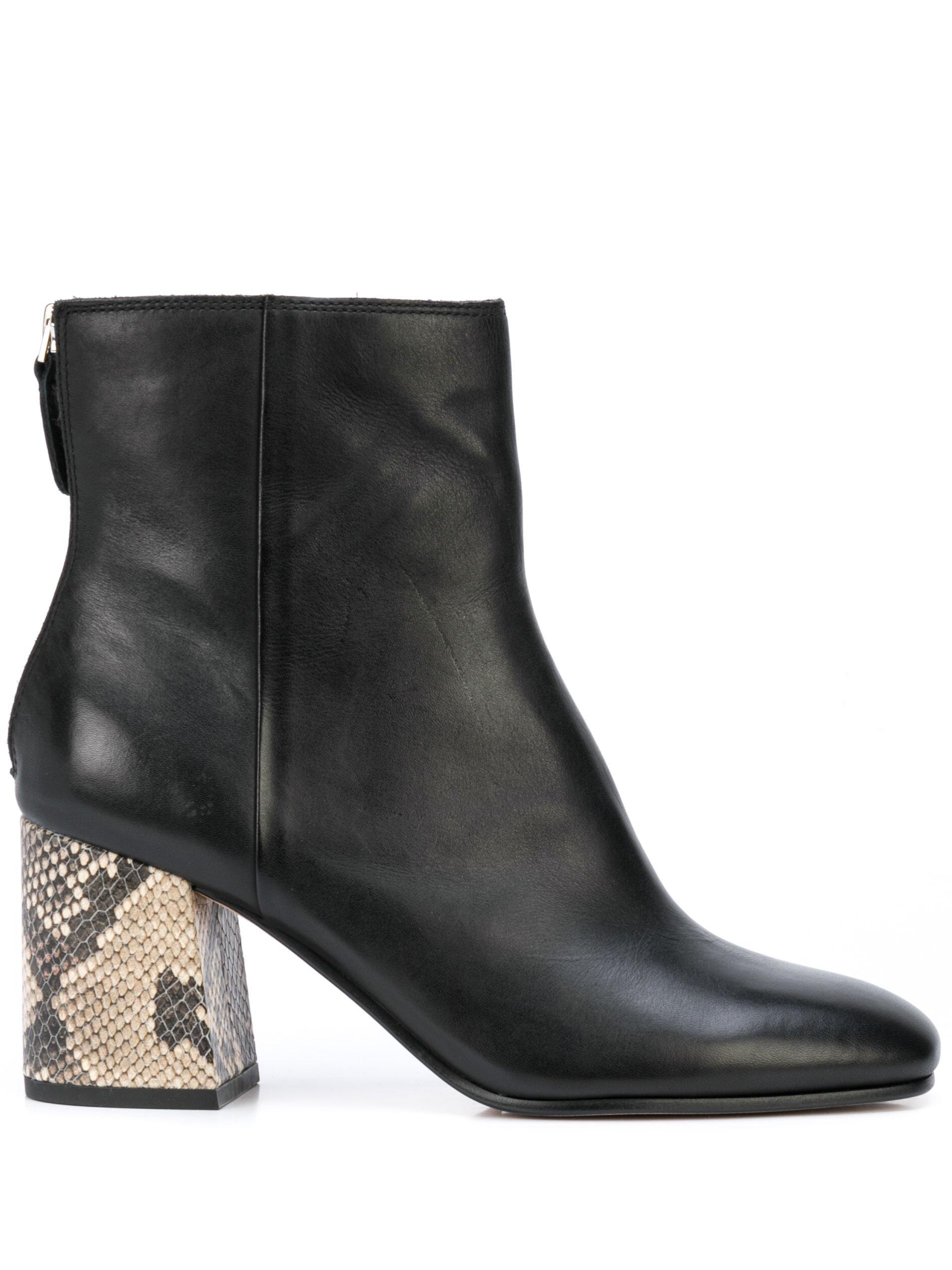 Zip Back Leather Bootie With Snake Block Heel