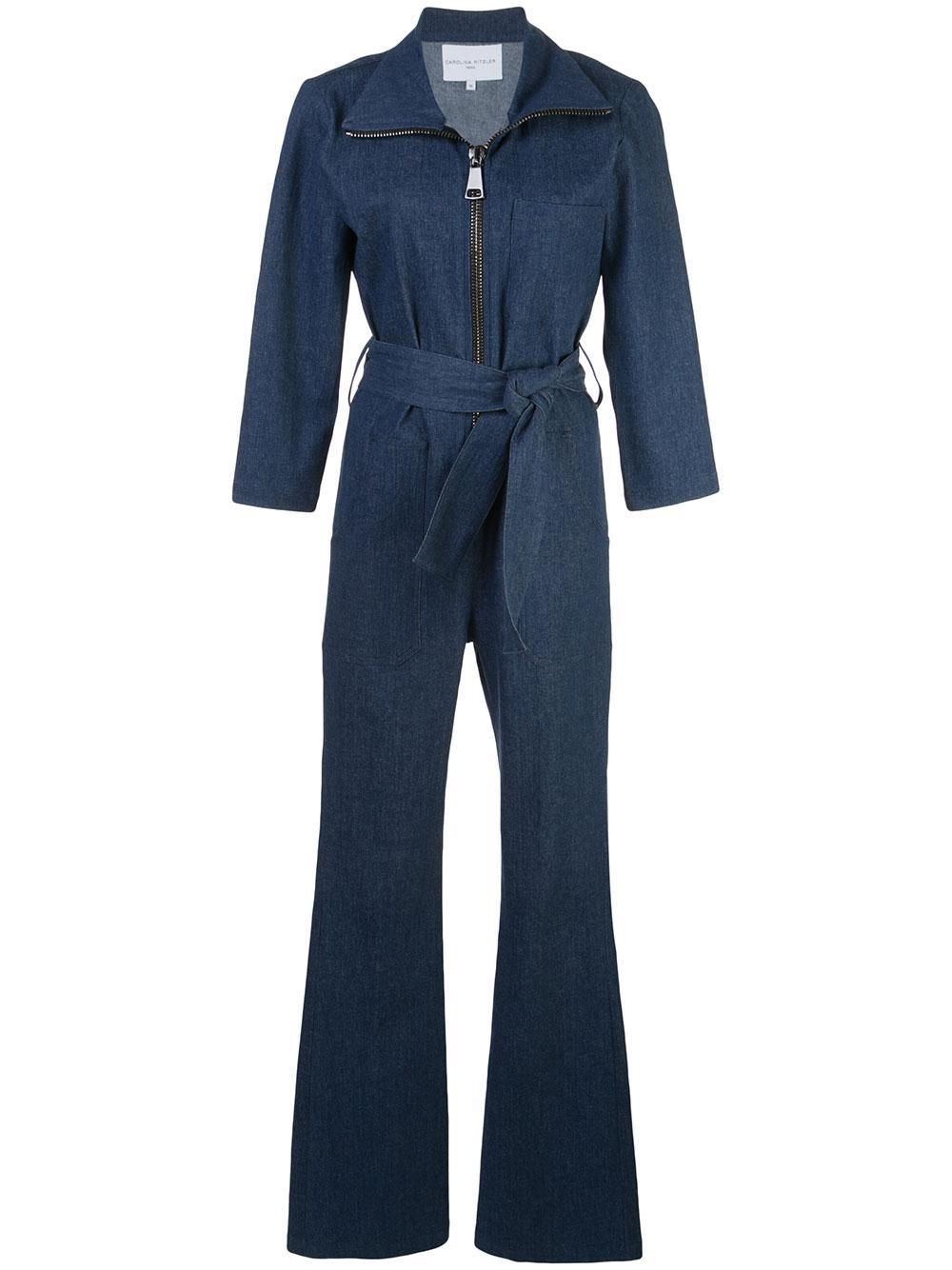 Emma Peel Denim Long Sleeve Zip-Up Jumpsuit
