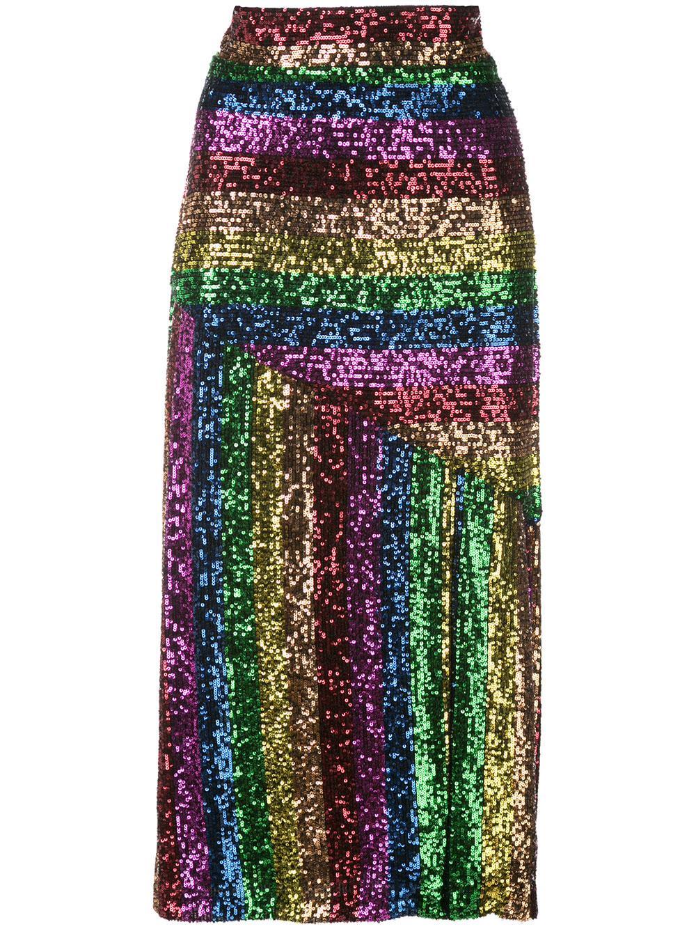 Rainbow Sequin Slit Midi Skirt Item # E027