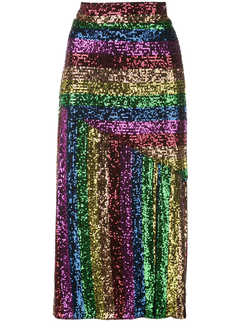 Rainbow Sequin Slit Midi Skirt