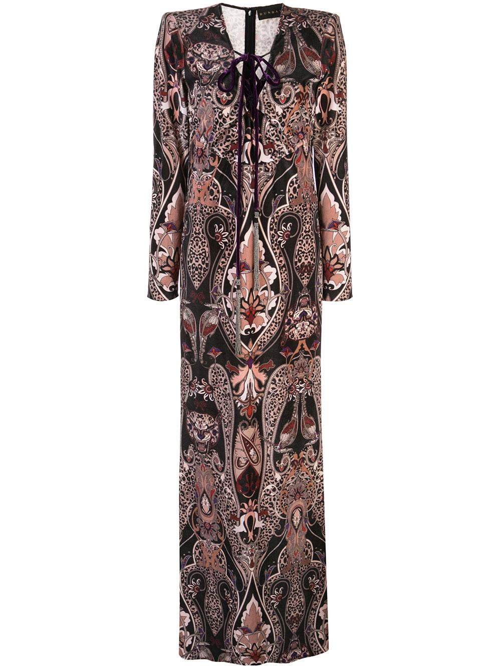 Long Sleeve Long Printed Velvet Dress With Lace Up Item # DDR187