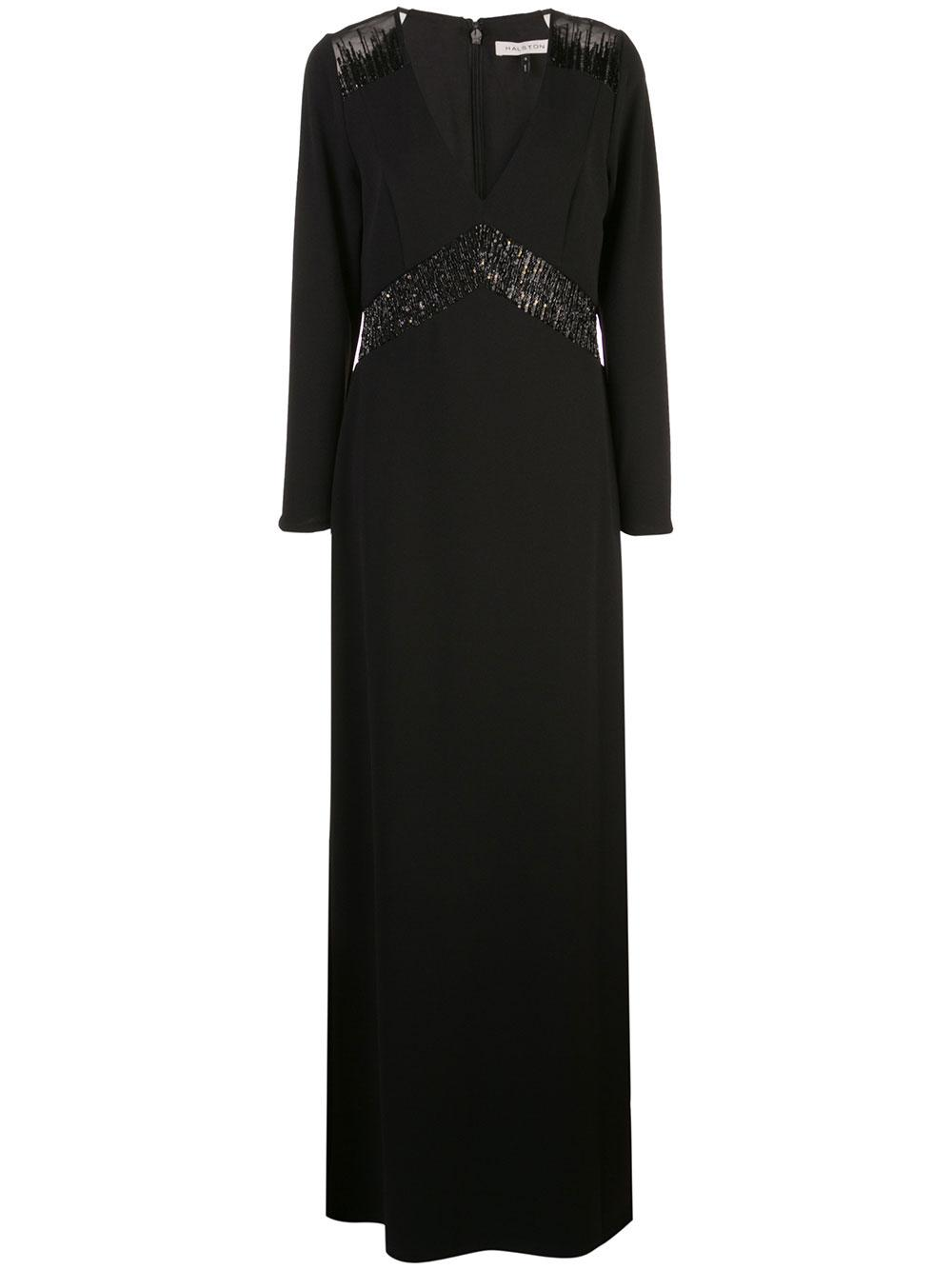 Fitted Knit Gown With Embroidered Sheer Inseam