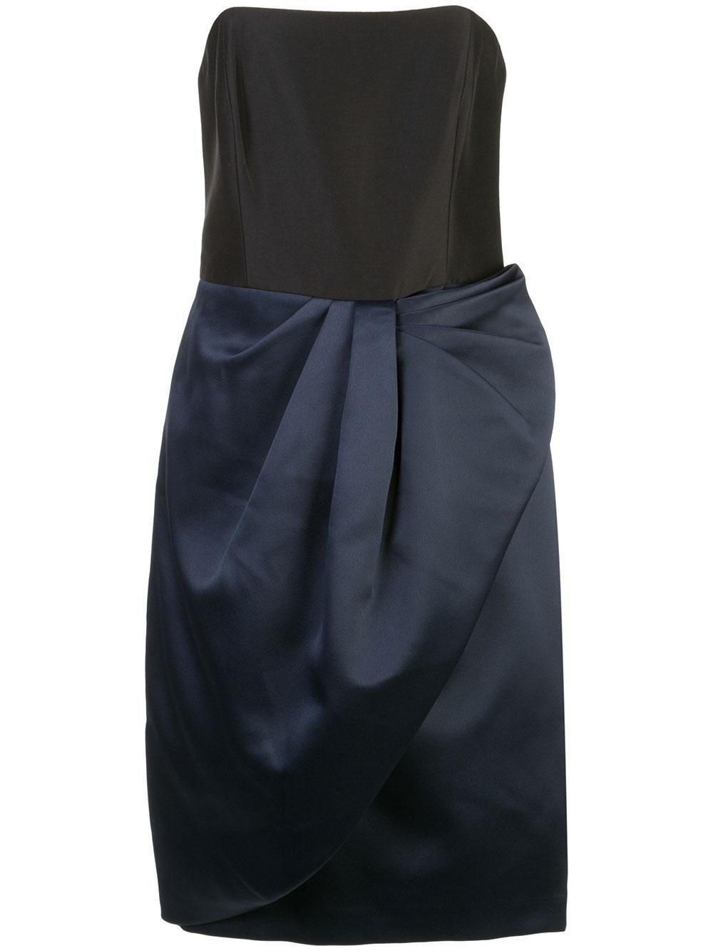 Bow Drape Bonded Satin Dress