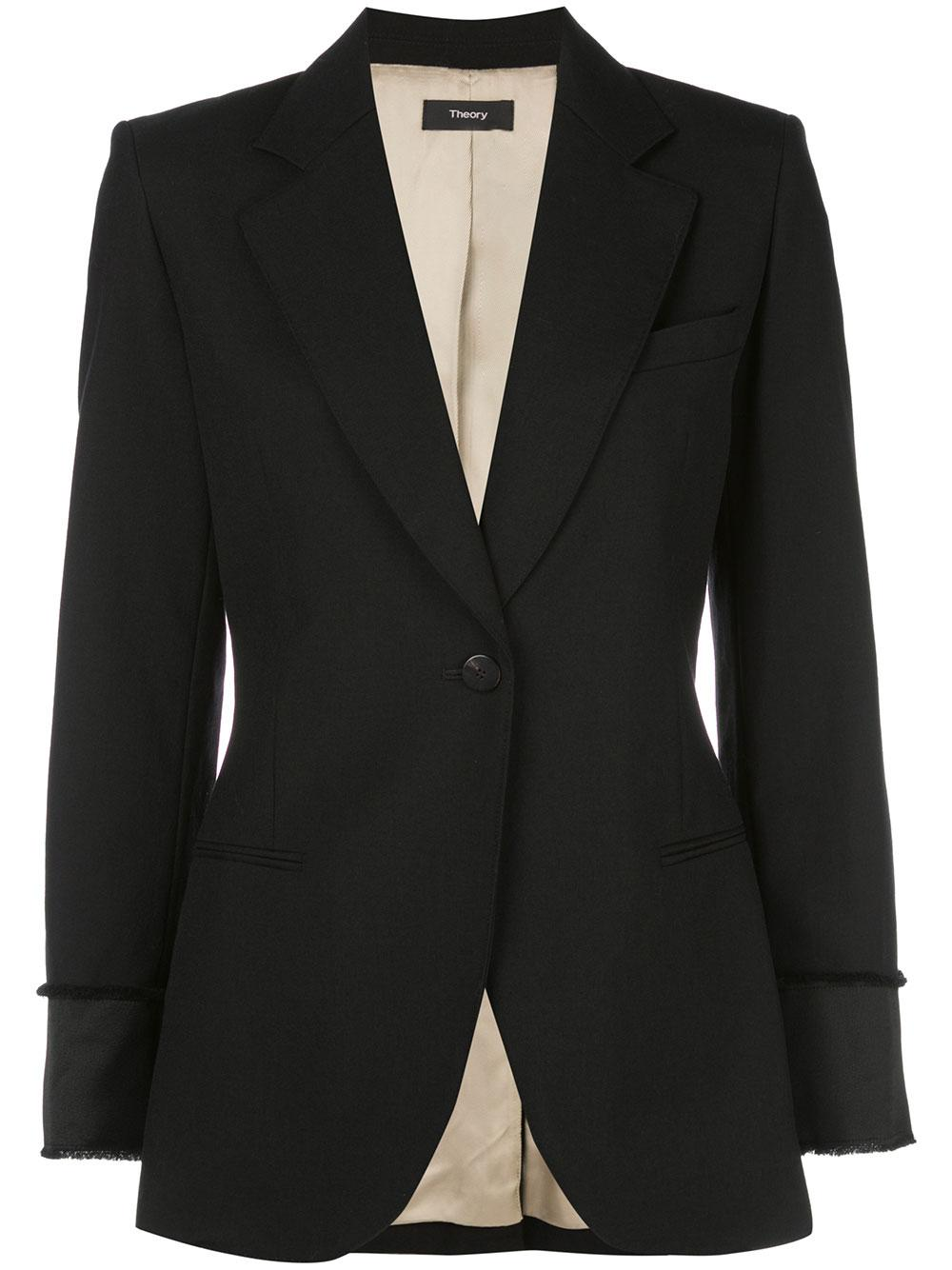 Wool Cinched Satin Detail Blazer