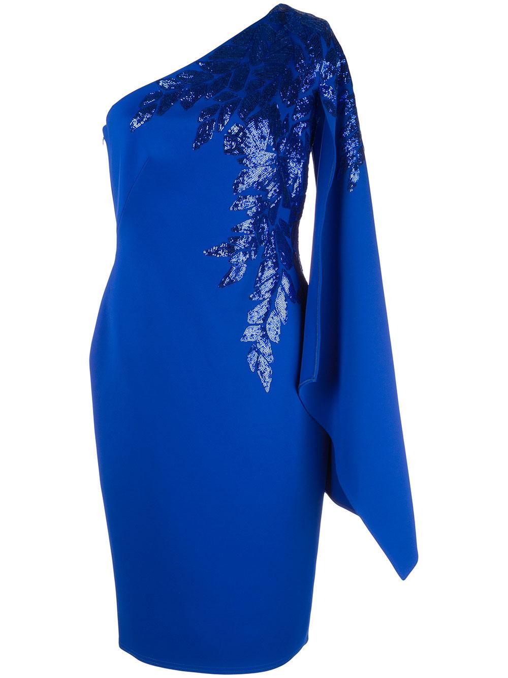 Asymmetric Cape Sleeve Sequin Cocktail Dress