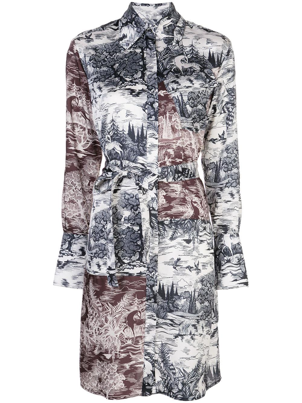 Long Sleeve Forest Print Twill Shirt Dress With Belt