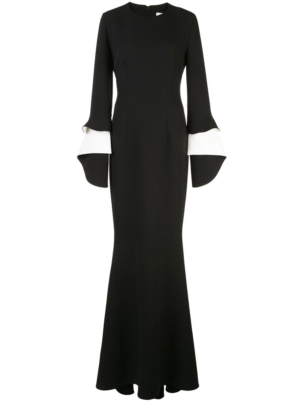 Akeno Long Sleeve Gown With Draped Cuff Item # DL374-1