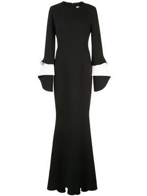 Akeno Long Sleeve Gown With Draped Cuff