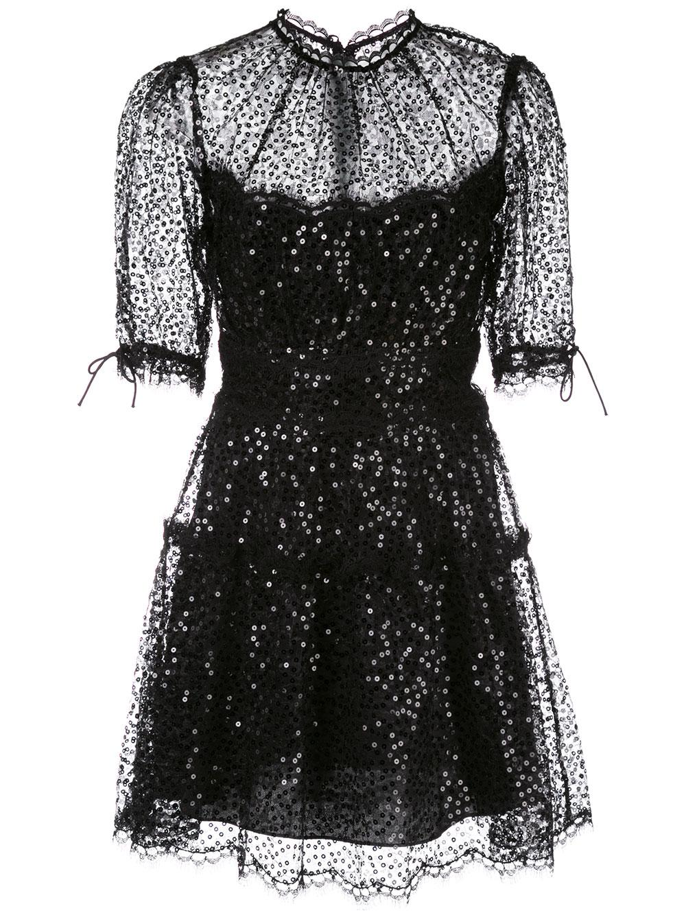 Short Sleeves Sequin Embroidered Lace Mini Dress