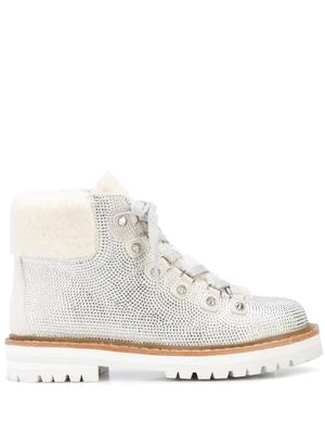 Lace Up Glitter Bootie With Fur