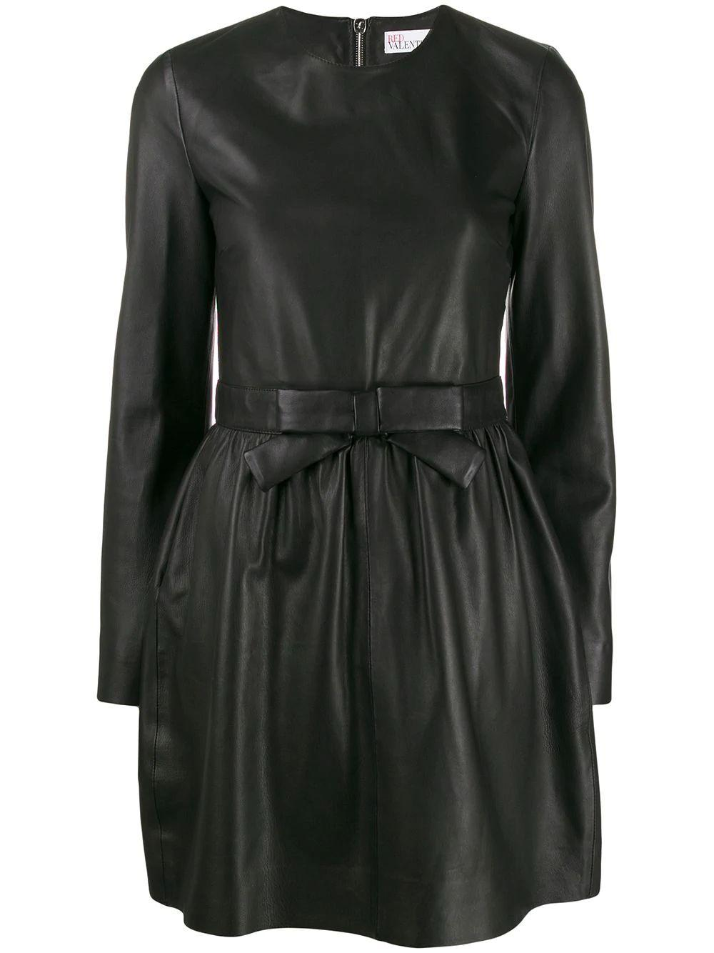 Long Sleeve Leather Dress With Bow Waist