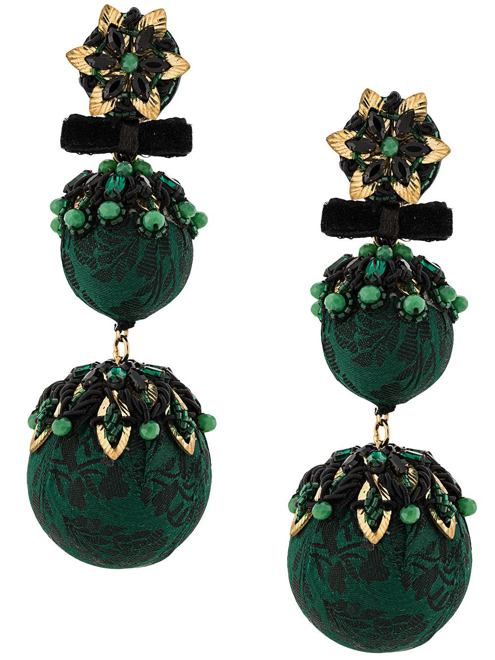 Nura Green Ball Drop Earrings Item # F19-612E