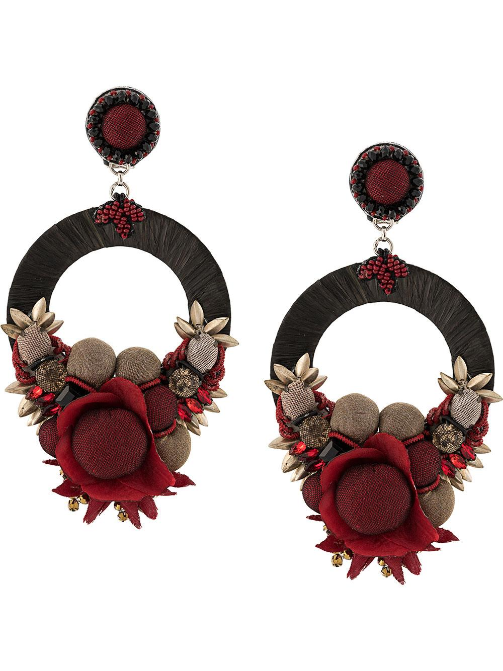 Rensie Open Hoop Silk Flower Earrings Item # F19-623E