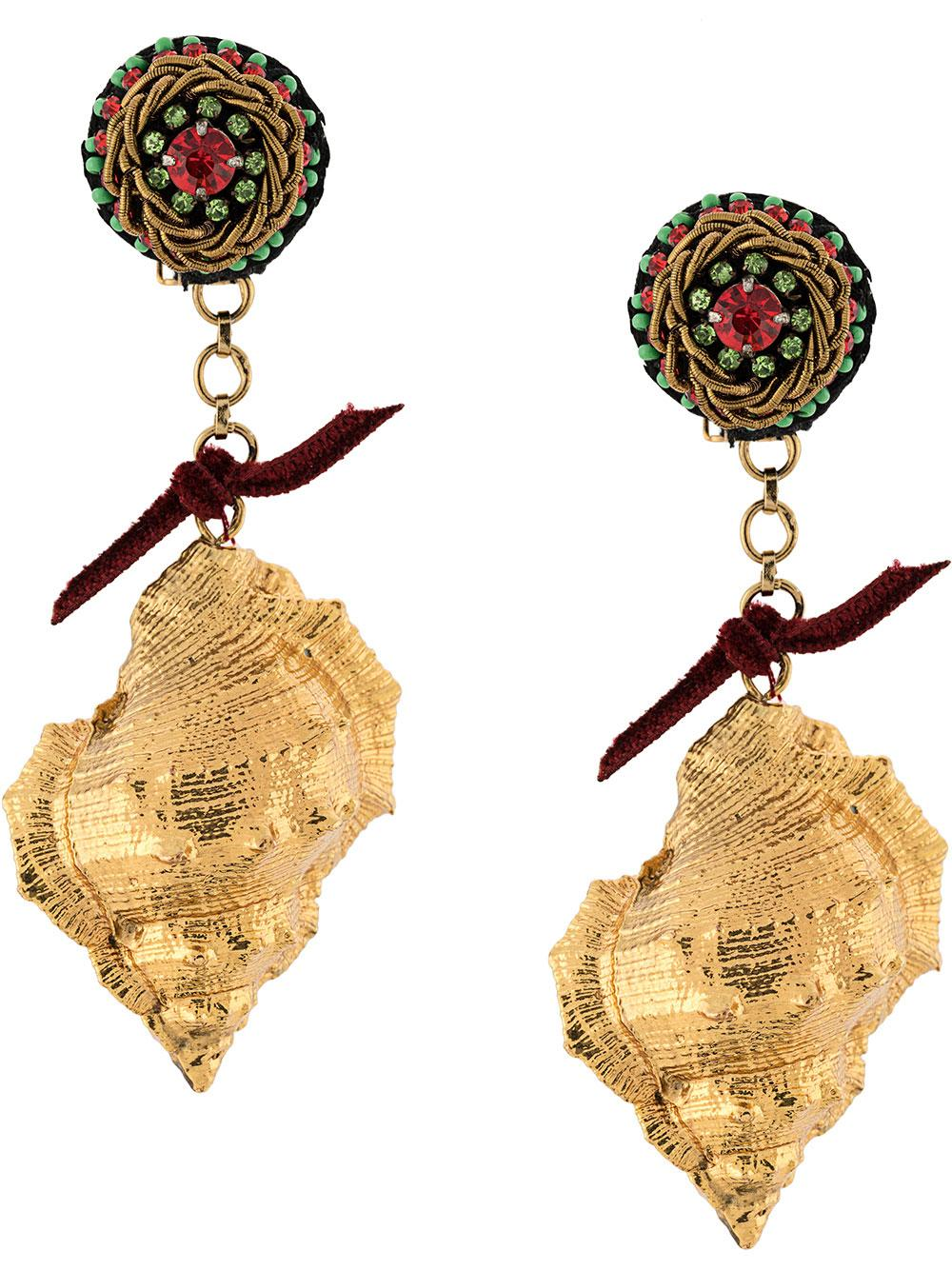 Gold Spiky Shell Drop Earrings Item # G19-104E