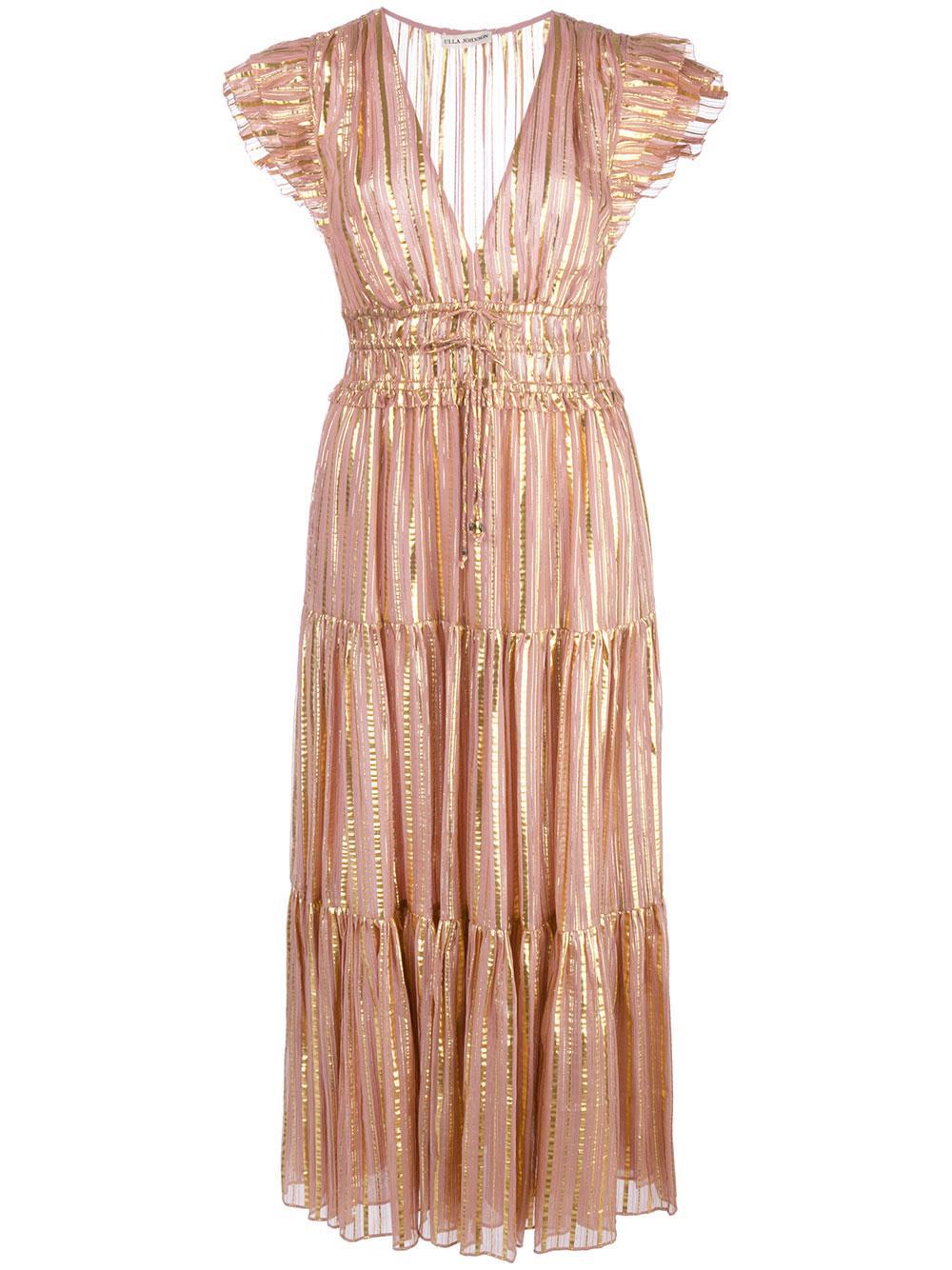 Justyne Gilded Lurex Stripe Midi Dress Item # HO190105