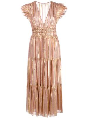 Justyne Gilded Lurex Stripe Midi Dress