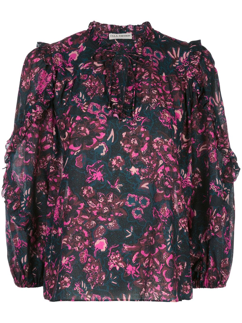 Rana Floral Camellia Cotton Silk Long Sleeved Top