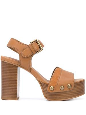 Leather Platform Block High Heel Sandal