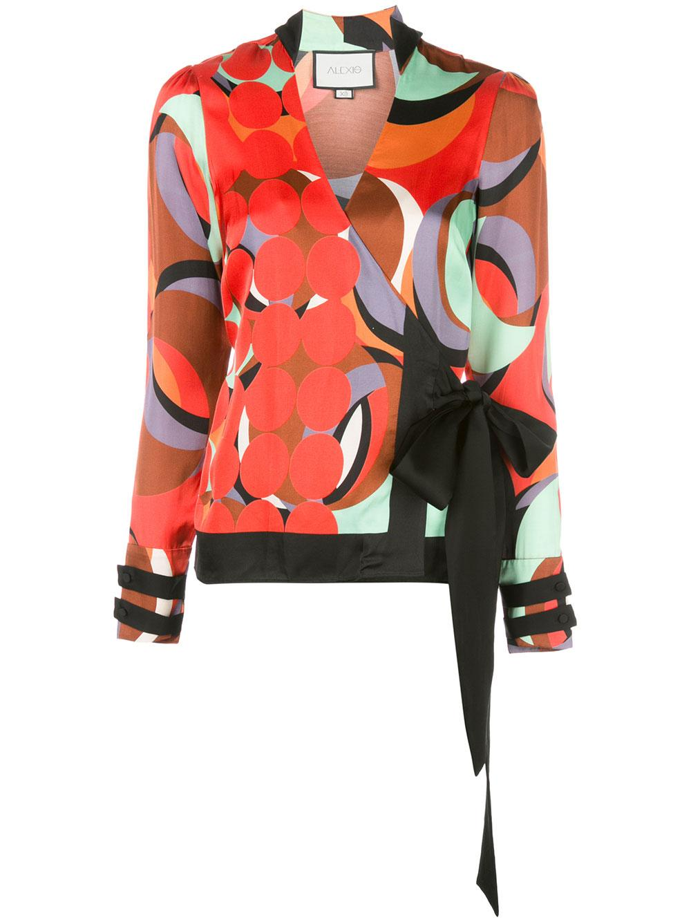Tarvos Long Sleeve Printed Wrap Top