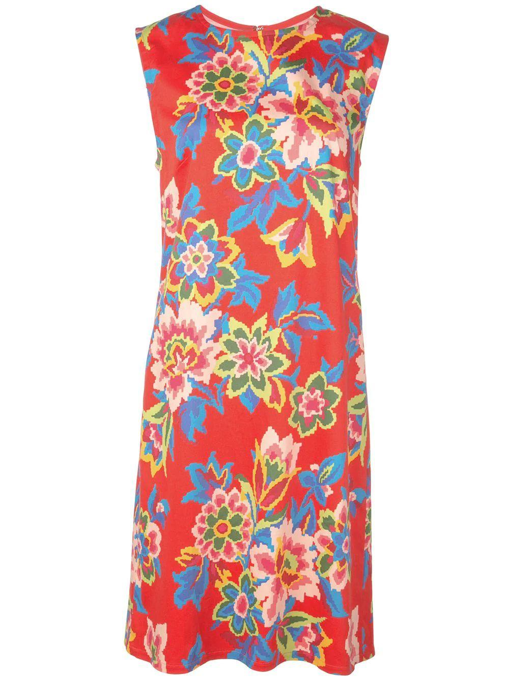 Sleeve Less Pixel Floral Print Shift Dress