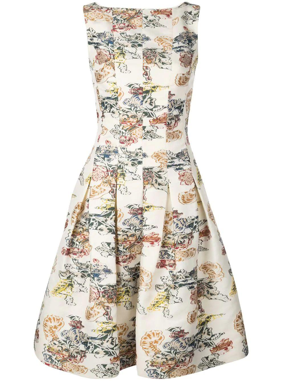 Sleeve Less Printed Fit Flare Dress