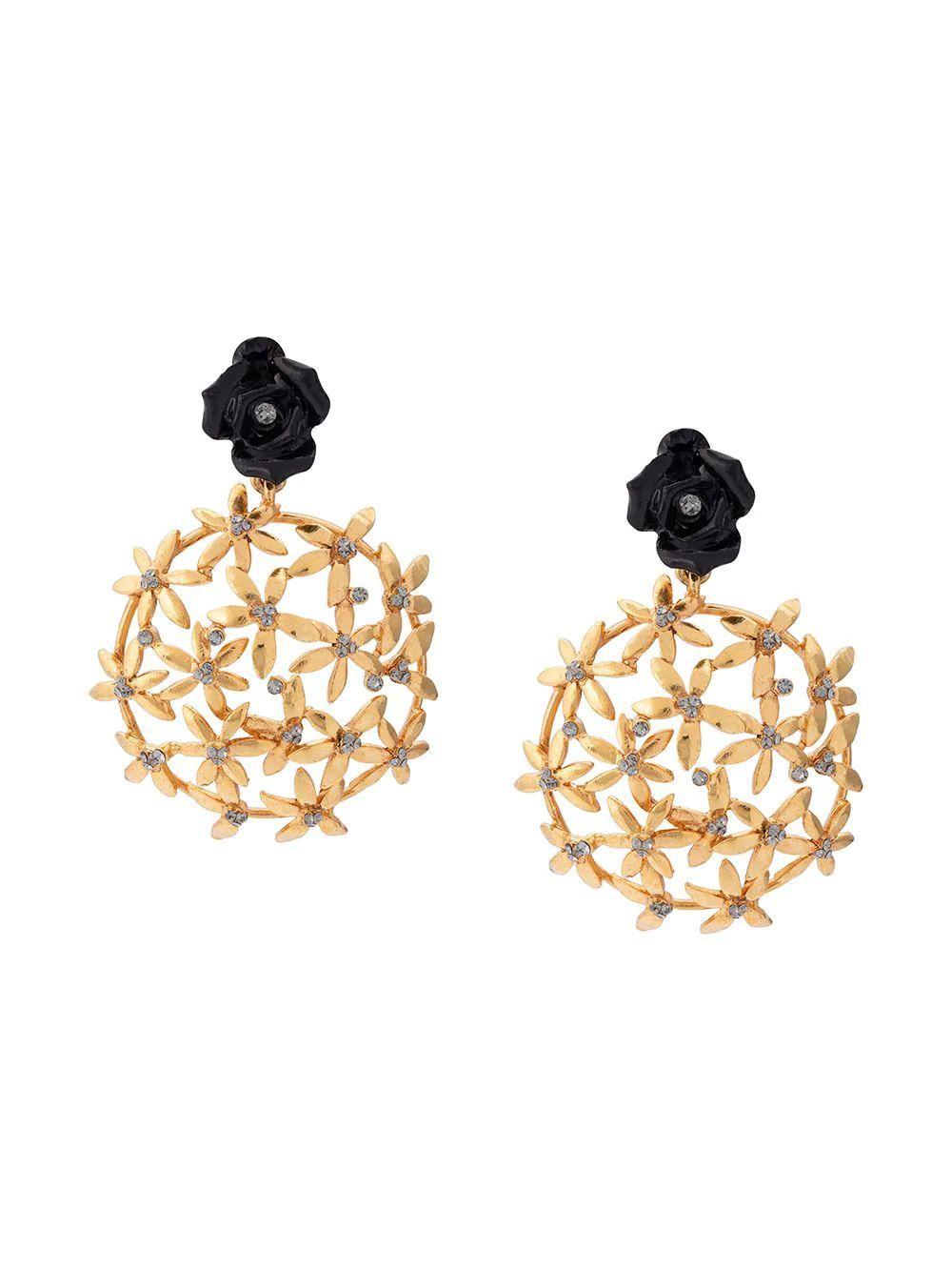 Resin Rose With Flower Cluster Clip Earring