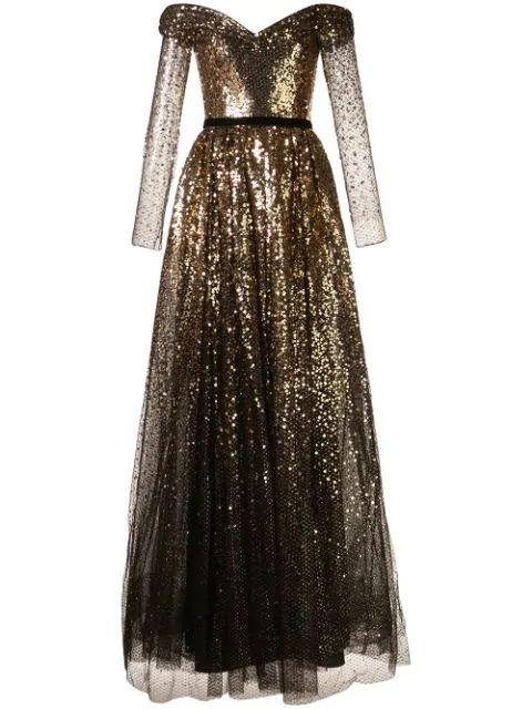 Off The Shoulder Long Sleeve Sequin Gown Item # N35G1069