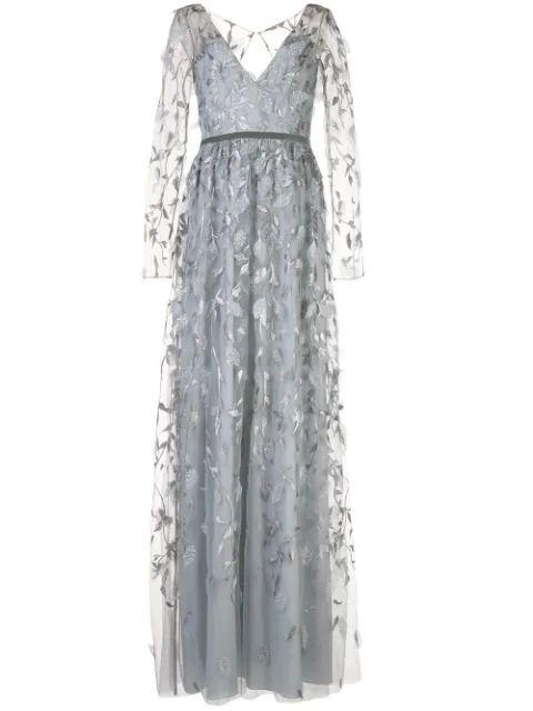 3/4 Sleeve V Neck Metallic Embroidered Gown