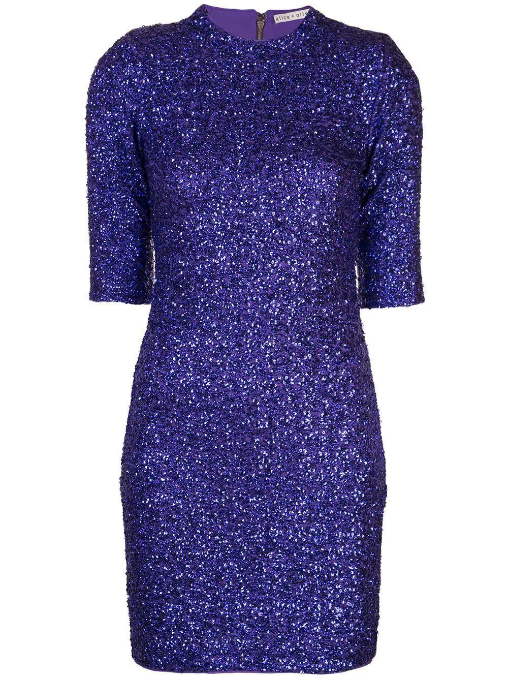 Inka Strong Shoulder Sequin Mini Dress Item # CC910E31537