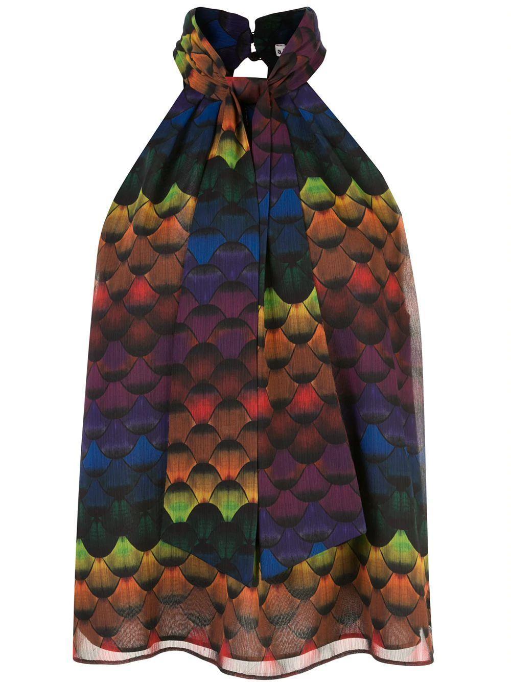 Leia Tie Neck Printed Halter Top Item # CC910P59028