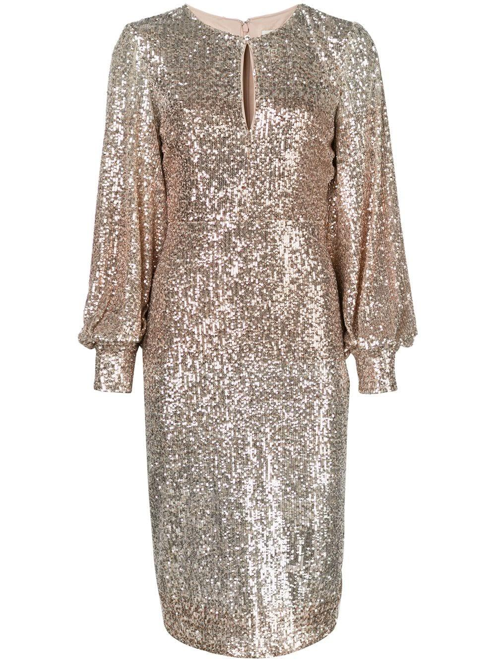 Ombre Sequin Long Sleeve Sheath Dress