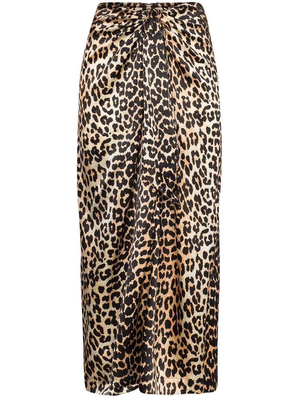 Silk Stretch Leopard Midi Skirt